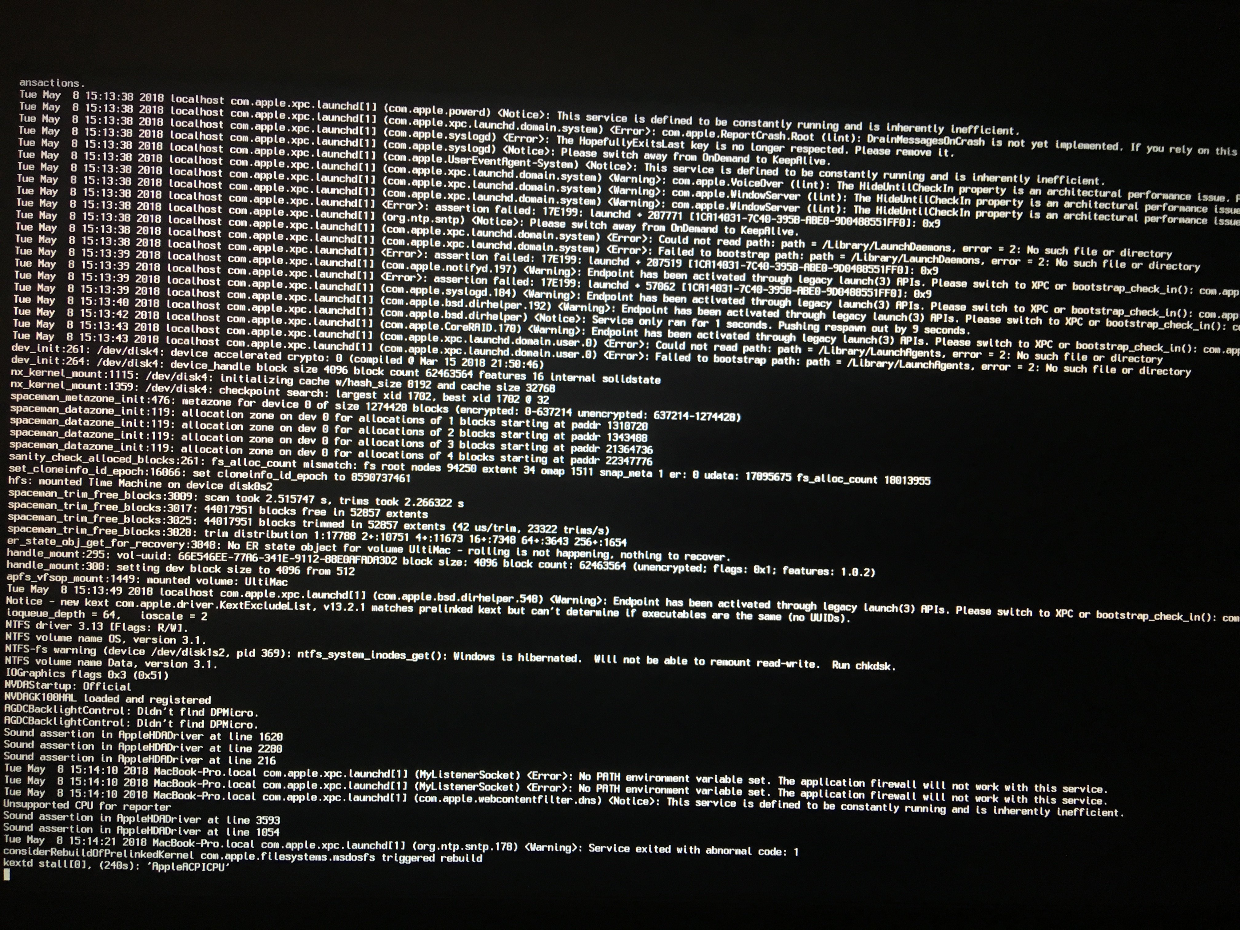 SOLVED] M4800 High Sierra update - lost macOS partition in